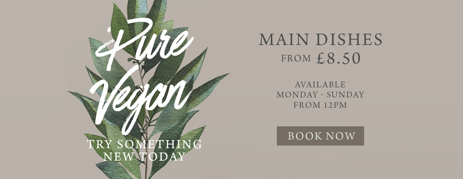 Vegan Menu at The Pine Marten